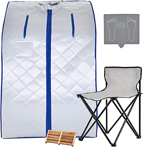 KUPPET Portable Infrared Home Spa, Infrared Portable Sauna, with Heating Foot Pad and Chair, Remote Control, 30 Minutes Timer Infrared 36.6 H,Silver Infrared 36.6 H,Silver