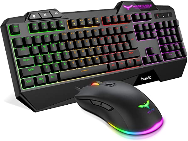 Havit Keyboard Rainbow Backlit Wired Gaming Keyboard Mouse Combo LED 104 Keys USB Ergonomic Wrist Rest Keyboard 4800 Dots Per Inch 6 Button RGB Mouse  at Kapruka Online for specialGifts