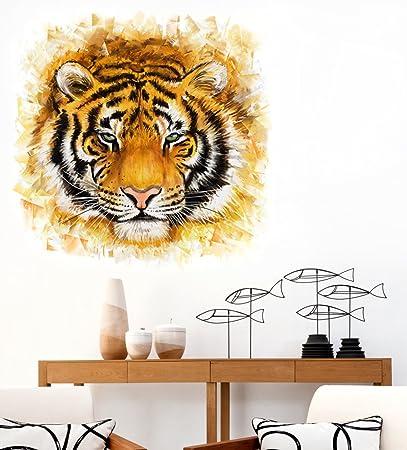 Luke and Lilly Tiger Animal Wall Sticker(PVC Vinyl,50 cm x 50 cm)