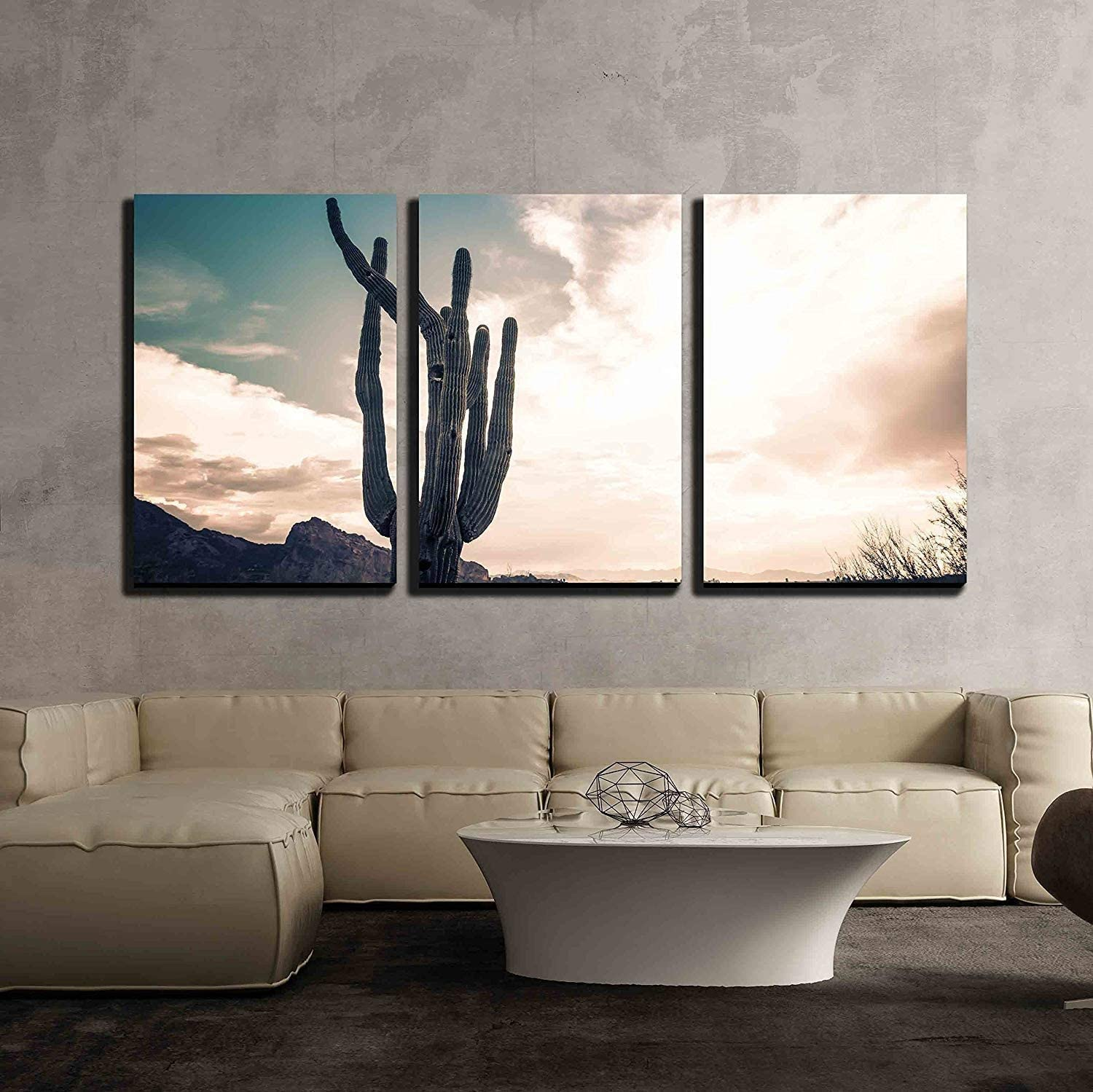 "wall26 - 3 Piece Canvas Wall Art - Iconic Saguaro Cactus and Camelback MTN Phoenix, AZ - Modern Home Art Stretched and Framed Ready to Hang - 16""x24""x3 Panels"