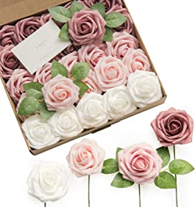 Ling's moment Artificial Roses Flowers 25pcs Dusty Rose Ombre Colors Fake Roses with Stem for DIY Wedding Bouquets Centerpieces Arrangments Decorations