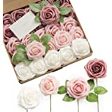 Ling's moment Artificial Roses Flowers 25pcs Dusty Rose Ombre Colors Fake Roses with Stem for DIY Wedding Bouquets Centerpiec