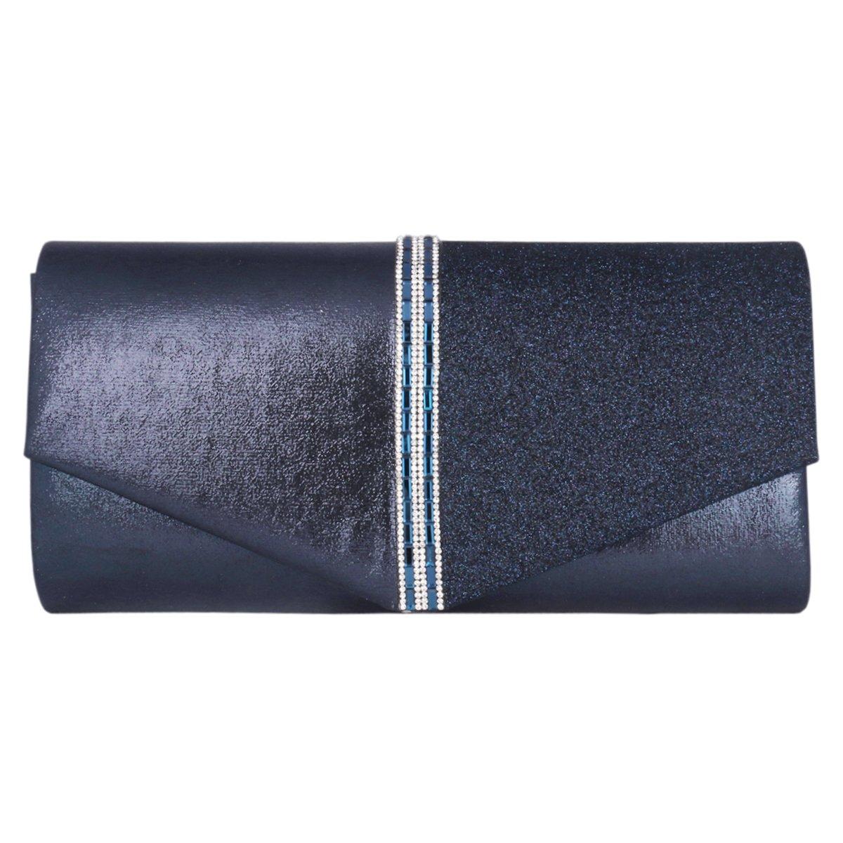 Adoptfade dam aftonväska med pailettes smakfull syntetisk Mörkblå