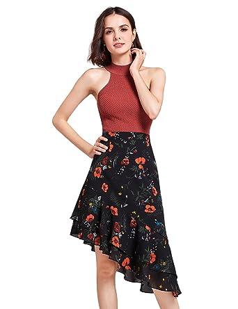 745f2e34e62b1 Alisa Pan A line Flower Pattern Irregular Hem Dresses Size 4 Black