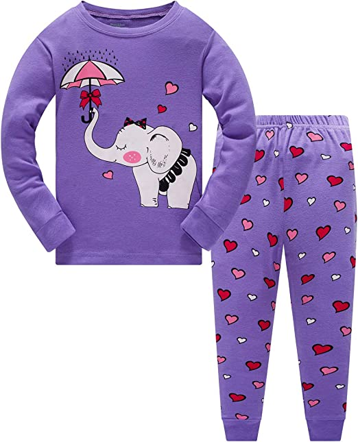 Baby Toddler Kids Nightwear Top and Pants Tight-Fitting Sleepwear 2 Piece elowel 100/% Cotton | Multiple Colours and Designs Sleepwear Girls Pyjama Pajamas with Multiple Design Selection