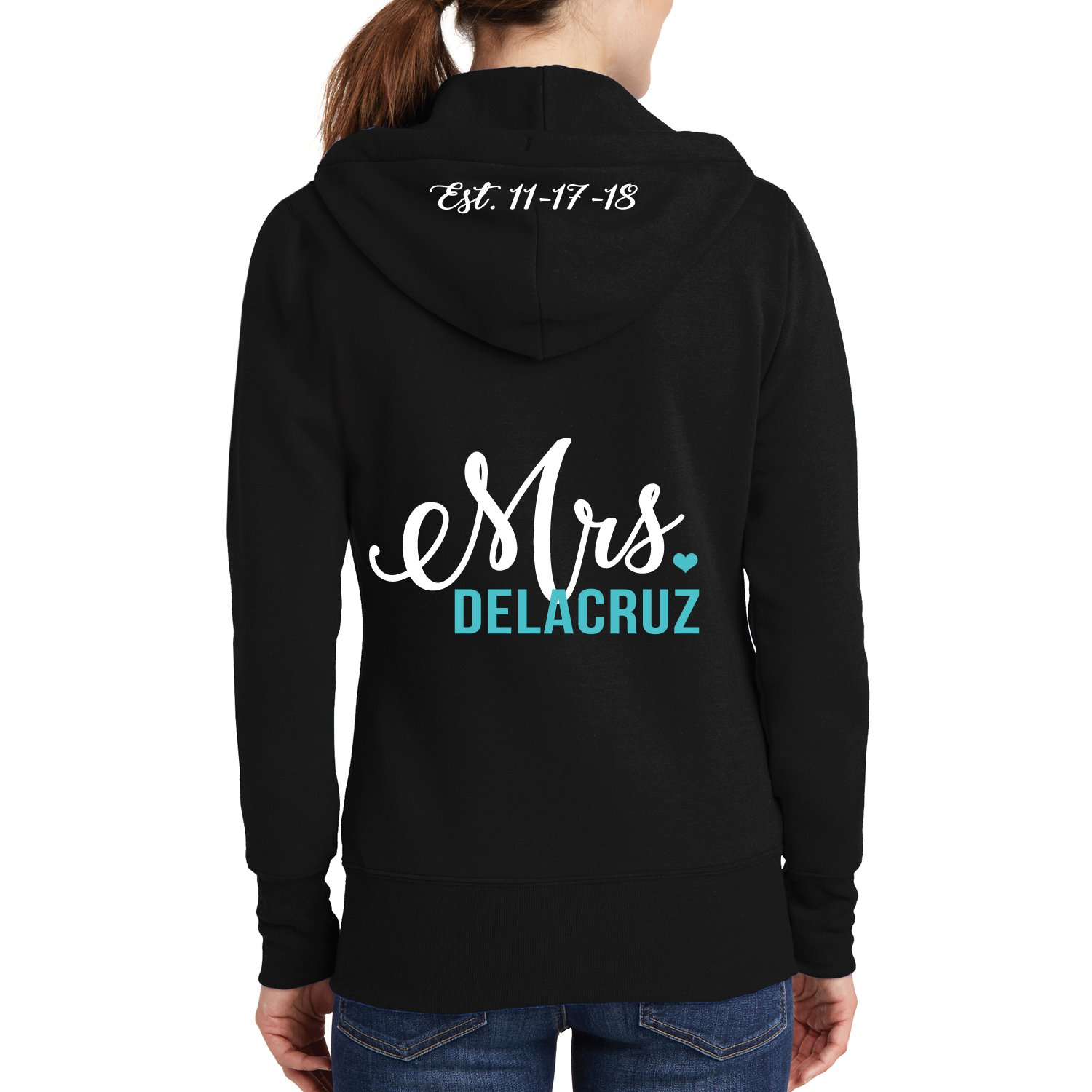 Classy Bride Personalized Mrs. Hoodie With EST. Date