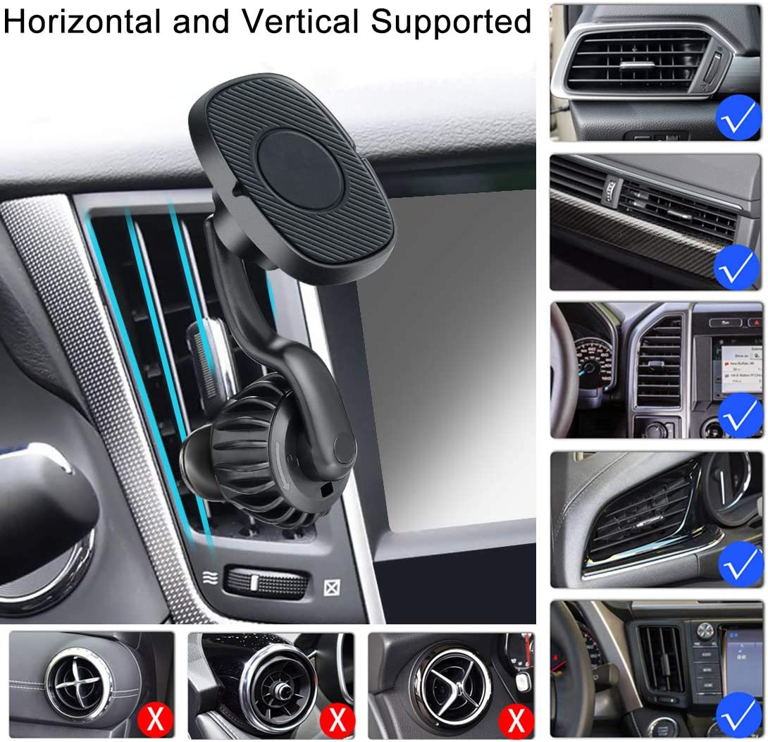 Upgraded Clamp Car Vent Magnetic Phone Mount with 6 Strong Magnets Car Phone Holder Mount Magnetic/Compatible with iPhone XR//11//Galaxy Note 9//Samsung Galaxy A10 Lorima Magnetic Phone Car Mount