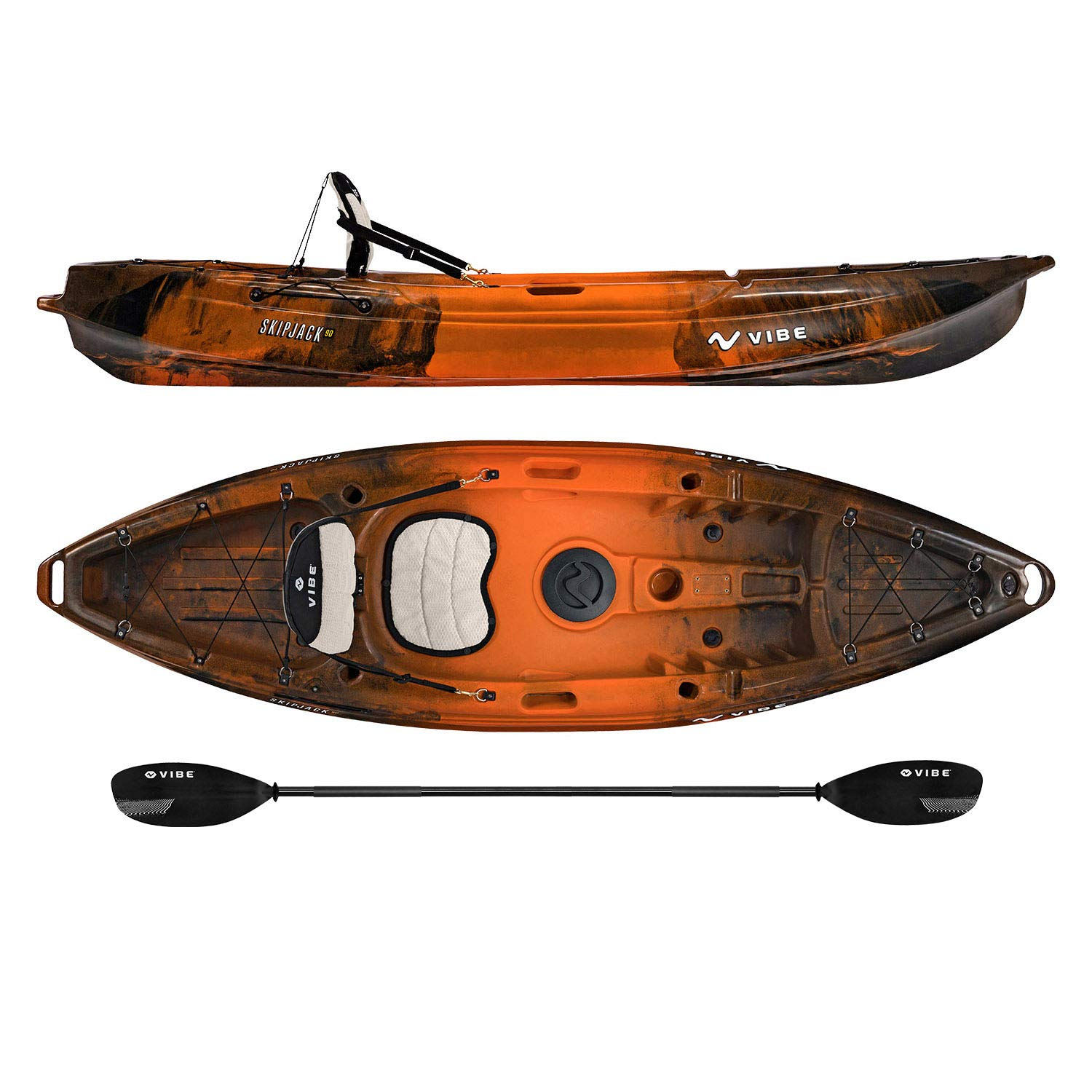 Vibe Kayaks Skipjack 90   9 Foot   Angler and Recreational Sit On Top Light Weight Fishing Kayak with Paddle and Seat (Wildfire)