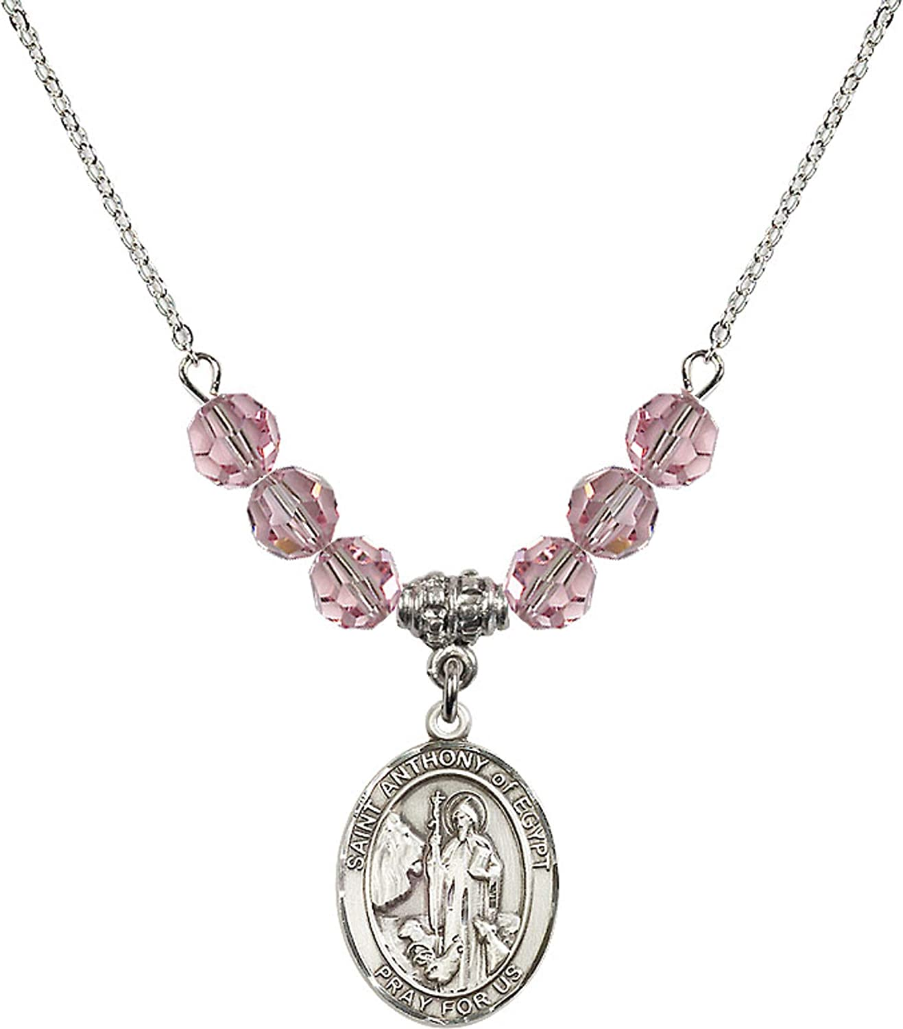 Bonyak Jewelry 18 Inch Rhodium Plated Necklace w// 6mm Light Rose Pink October Birth Month Stone Beads and Saint Anthony of Egypt Charm