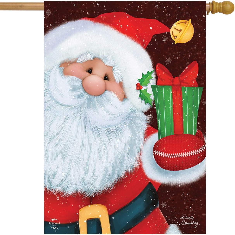 Briarwood Lane Santa's Gift Christmas House Flag Primitive Present 28
