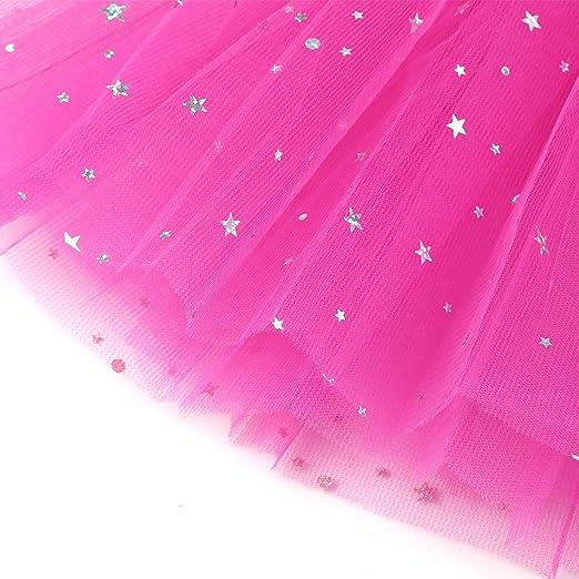 MIOIM Vestido de Fiesta de la Princesa Tutu Falda Lentejuela Estrella Gasa con Brillos de Ballet para Niñas,Talla única: Amazon.es: Deportes y aire libre