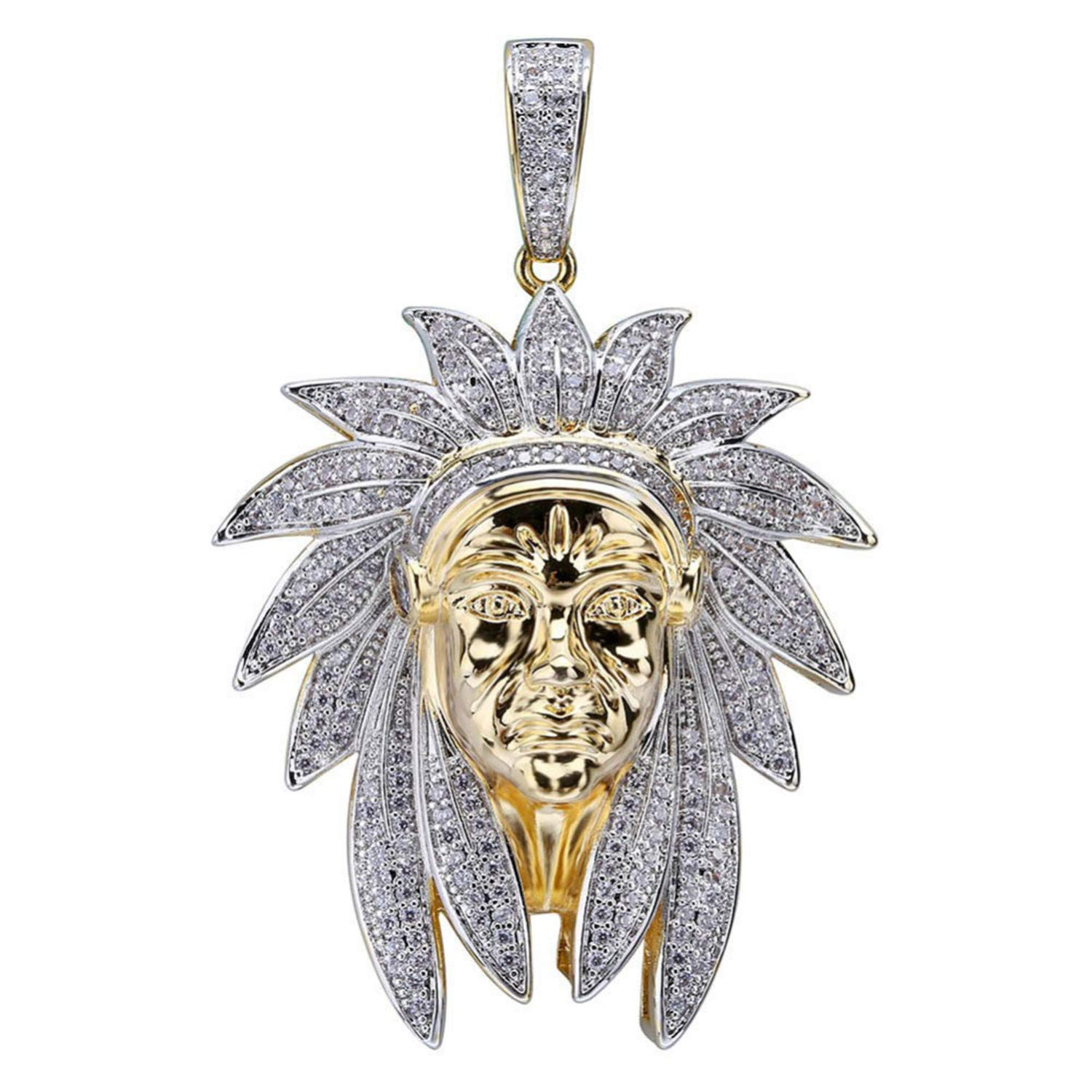 Iced Out Indian Chief Head Charm Pendant /& Necklaces Hip Hop Gold Silver Color Chains For Men Mask Indian Gifts Jewelry Native Cuban Chain 24inch