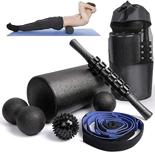 6 in1 Foam Roller Set -High Density Roller Foam,Muscle Roller Stick,2 Plantar Fasciitis Ball,Stretching Strap,Peanut Massage Ball for Physical Therapy Exercise,Back Pain,Deep Tissue