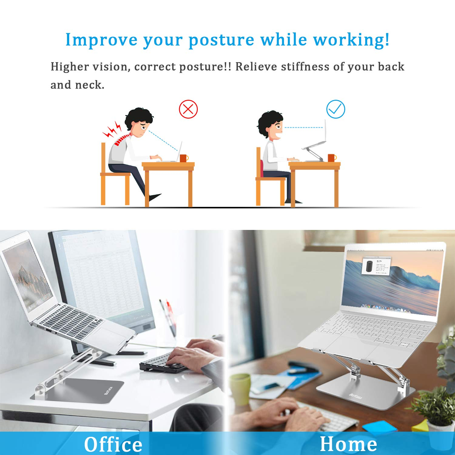 Laptop Stand, Boyata Laptop Holder, Multi-Angle Stand with Heat-Vent to Elevate Laptop, Adjustable Notebook Sand for Laptop (4-17 inch) Compatible for MacBook Pro/Air, Surface Laptop and so on by Boyata (Image #2)