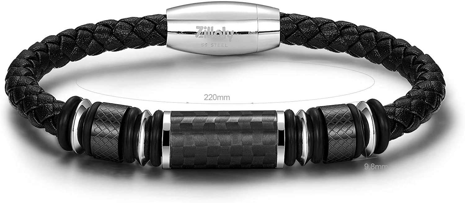 Zillaly Men's Stainless Steel Two-Tone Square Link Diamond Bracelet in Black & Blue Ion-Plated Black