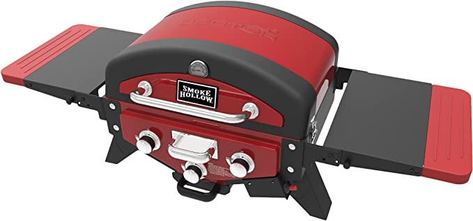 Smoke Hollow VT280RDS Vector Series Two-Burner Portable Gas Grill with Folding Side Table by Masterbuilt, Red