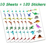 10 Sheets of Dinosaur Stickers, Highest Resolution Dinosaurs Stickers, Great Kids Activity, For Boys and Girls, a Total of 120 Adorable Stickers, By 4E's Novelty