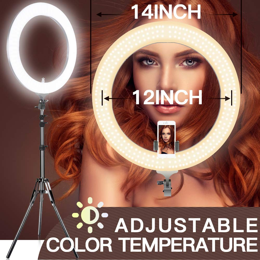 Adjustable 2700-5500K Bi-Color Temperature Ring Light, SAMTIAN 14 Inches Outer YouTube Light Dimmable SMD LED Makeup Light with 2M Light Stand Phone Holder for Video Shooting YouTube Video Portraiture by SAMTIAN