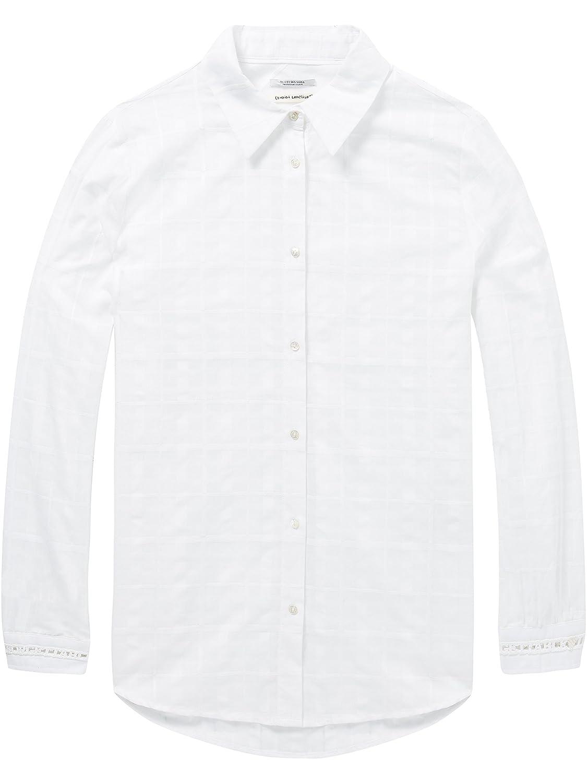 Scotch & Soda Sheer Checked Shirt with Ladder Tape Inserts, Blusa para Mujer