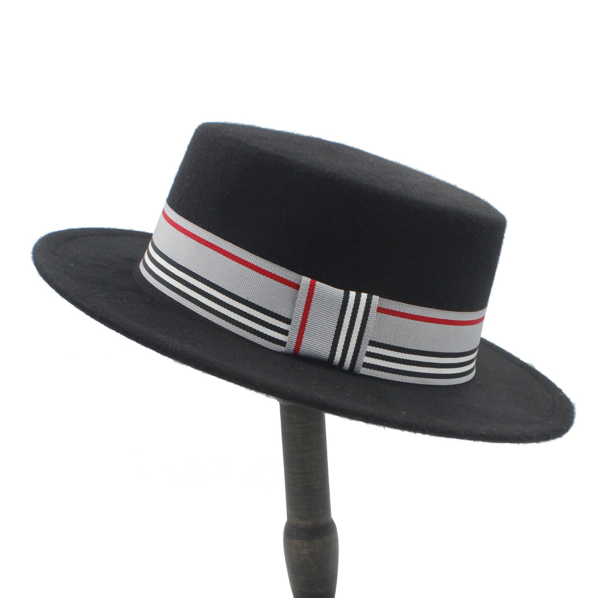 Fashion Wool Flat Top Hat For Women's Felt Wide Brim Fedora Hat Laday Prok Pie Chapeu de Feltro Bowler Gambler Top Hat