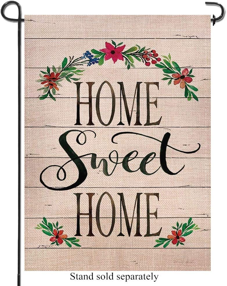 Artofy Home Sweet Home Decorative Garden Flag, Farmhouse Outdoor Small Flag Flower Garland Sign, Summer Fall House Yard Burlap Flag Decor Spring Autumn Rustic Outside Decoration Double Sided 12 x 18