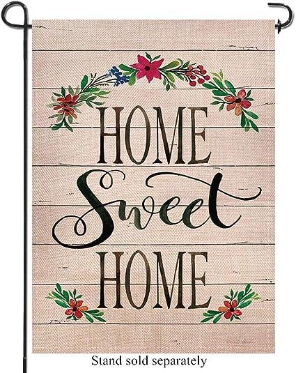 Amazon Com Artofy Home Sweet Home Decorative Garden Flag Farmhouse Outdoor Small Flag Flower Garland Sign Summer Fall House Yard Burlap Flag Decor Spring Autumn Rustic Outside Decoration Double Sided 12x18