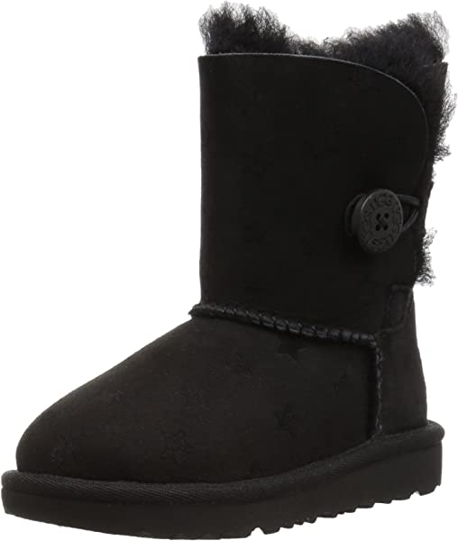 Amazon.com | UGG Girls T Bailey Button II Stars Pull-On Boot, Black, 6 M US Toddler | Boots