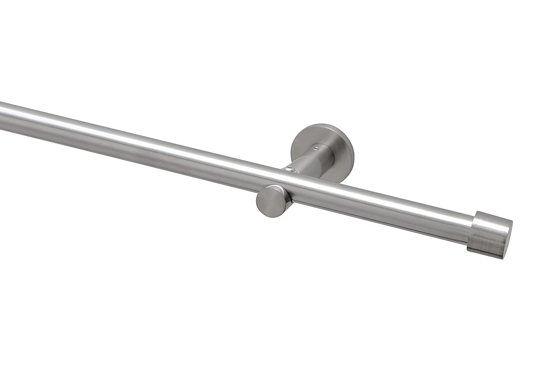 Garduna 400cm (2x200cm inkl. Verbinder) Gardinenstange Ø 20mm Cap, 1-lauf, Edelstahl-Optik (ohne Ringe)