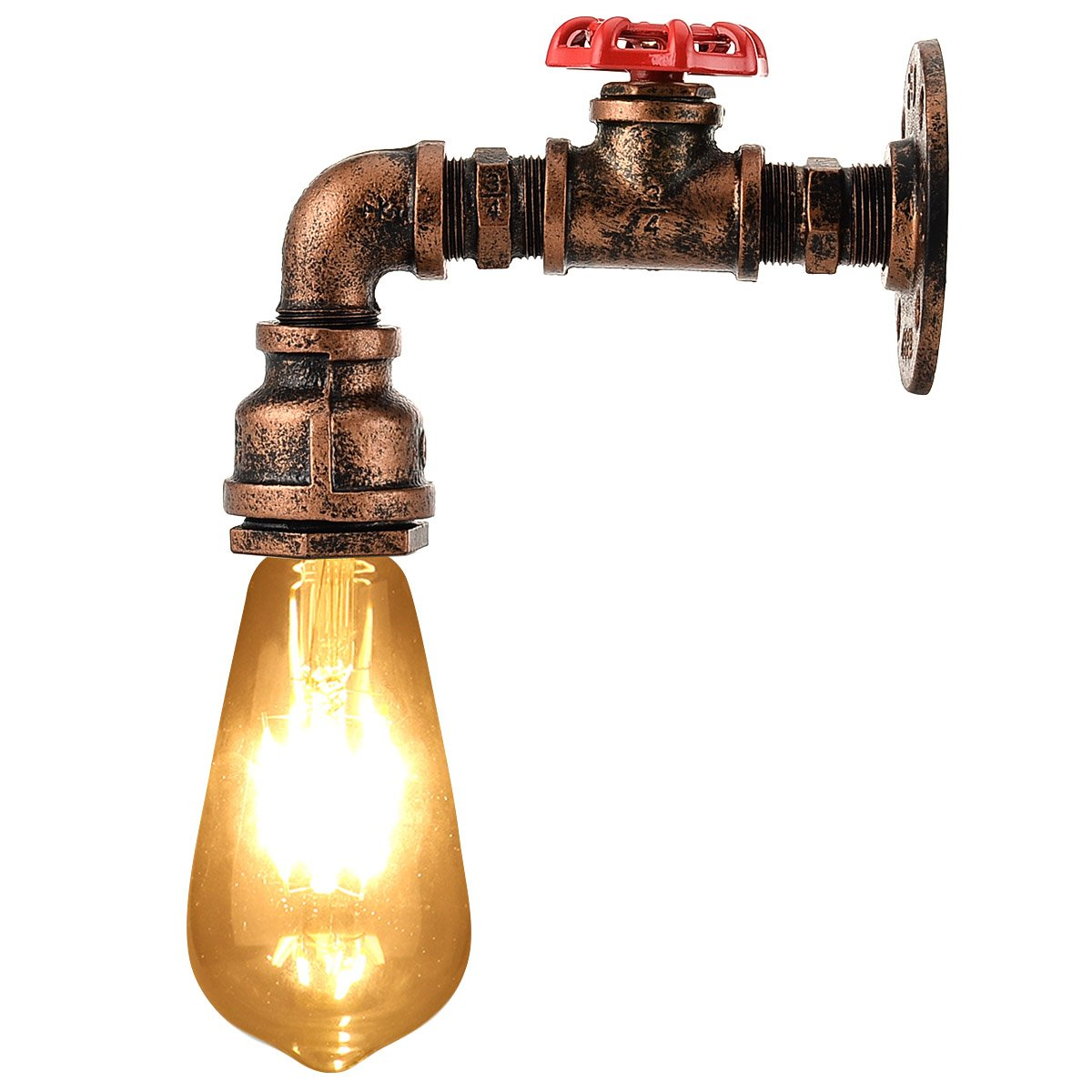 Rojo Cobre Color Cafe KAWELL Creativo Vintage L/ámpara de Pared Tuber/ía de Agua Aplique de Pared Industrial Retro Luz de Pared Hierro E27 60W Max para Restaurante Bar Dormitorio Cocina