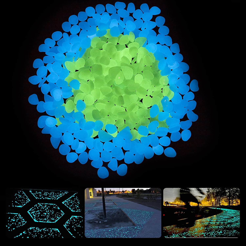 ELEATTRUN Glow in The Dark Rocks, 400PCS Glow Rocks, Grow in The Dark Pebbles Luminous Stones, Garden Pebbles Rocks for Outdoor Decor, Garden Lawn Yard, Walkway, Fish Tank, Pathway (Blue & Green)