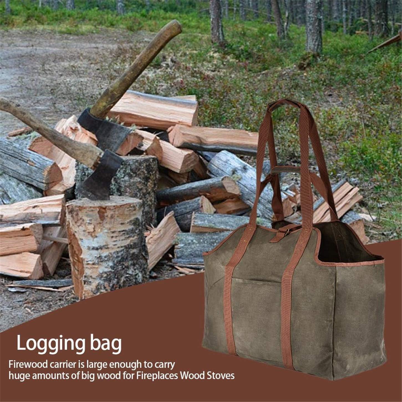 Bolsa de almacenamiento para le/ña extra grande con asas y correa para el hombro bolsa de transporte de madera resistente para chimeneas y estufas de le/ña