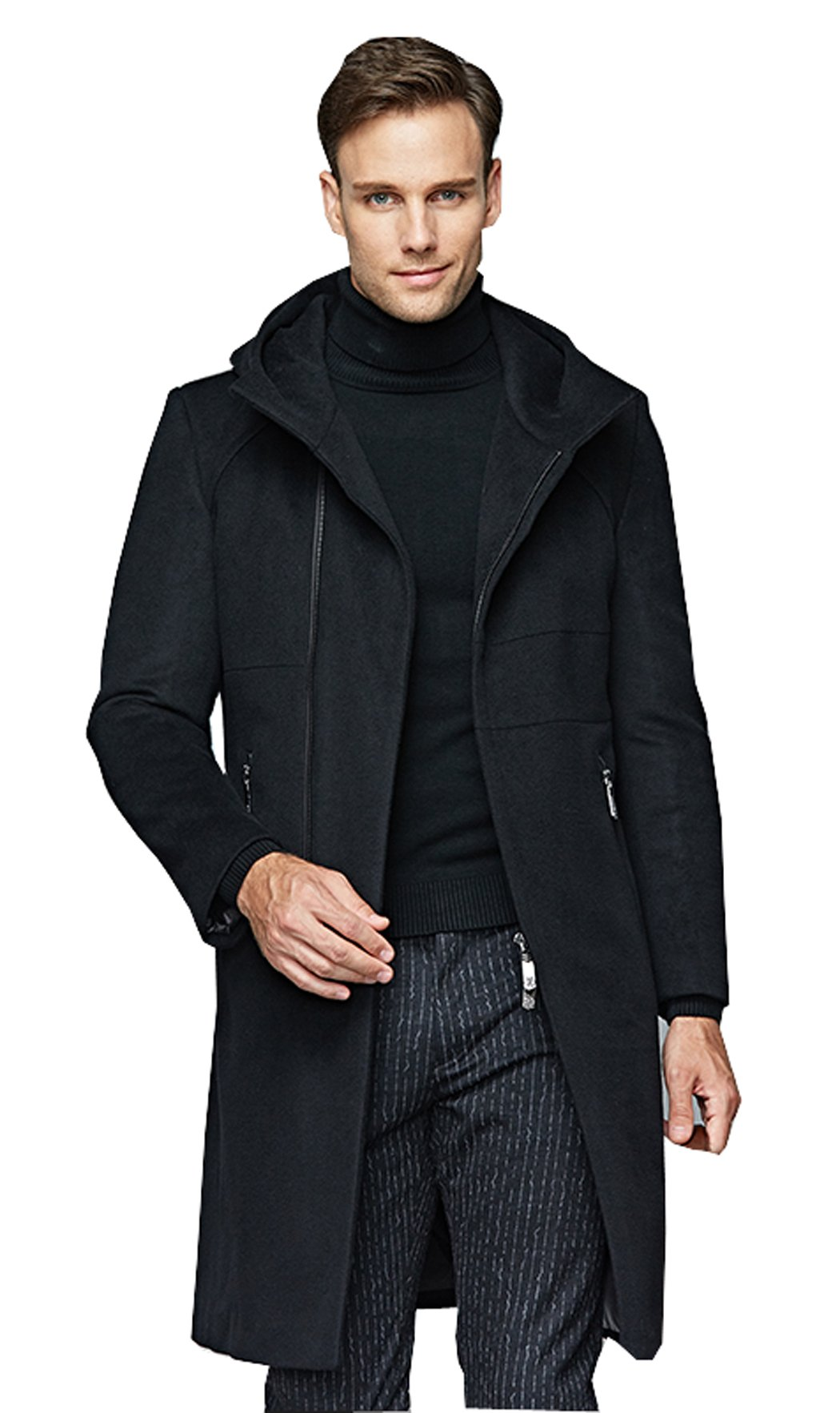 UNbox Mens Winter Wool French Jackets Business Fit Hood Overcoat Black M