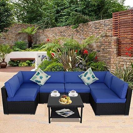 Terrific Patio Sofa Outdoor Rattan Couch Wicker 7Pcs Sectional Conversation Sofa Lawn Garden Patio Furniture Set New Black Royal Blue Cushion Home Interior And Landscaping Ponolsignezvosmurscom