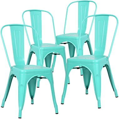 Poly and Bark Trattoria Kitchen and Dining Metal Side Chair in Aqua (Set of 4)