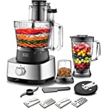 Black+Decker 880W 4-in-1 Food Processor, Blender, Grinder and Dough Maker with 31 Functions, Silver/Black, FX1050-B5