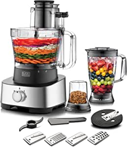Black+Decker 880W 4-in-1 Food Processor, Blender, Grinder and Dough Maker with 31 Functions, Silver/Black - FX1050-B5, 2 Years Warranty