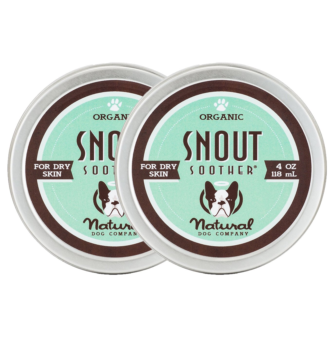 NaturalDog.com SNOUT SOOTHER | Organic, All-Natural | Dry Chapped Cracked Crusty Dog Nose Remedy (4 Oz (Best Value), 2 Pack)