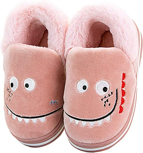 Girls Boys Warm Dinosaur House Slippers Toddler Kids Fuzzy Indoor Bedroom Shoes