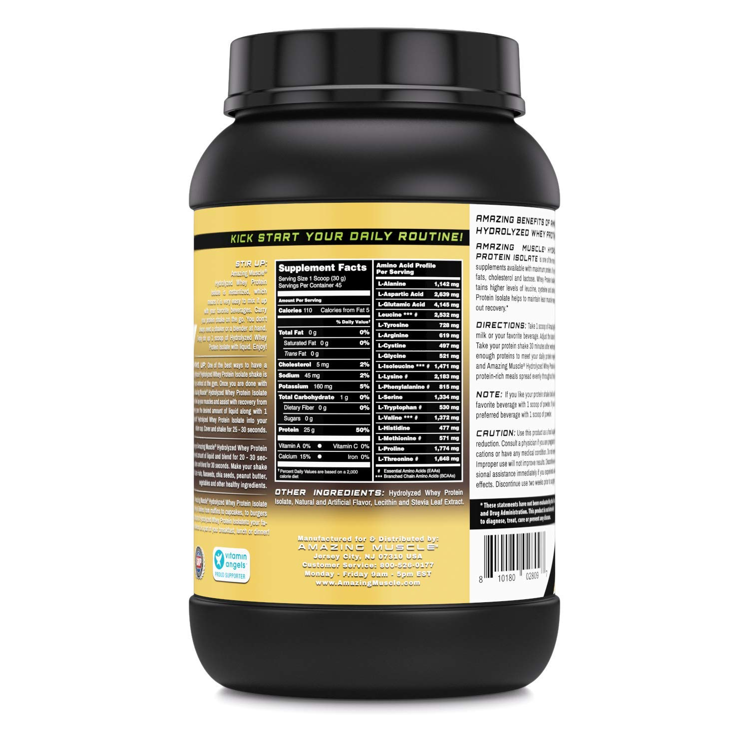 Amazon.com: Amazing Muscle Ultra Pure Hydrolyzed Whey Protein Isolate * Supports Lean Muscle Growth & Rapid Recovery (Strawberry): Health & Personal Care