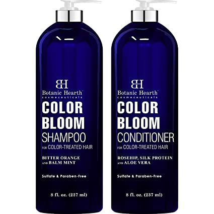 BOTANIC HEARTH Shampoo and Conditioner for Color Treated Hair - with Special Blend of Conditioning, Smoothing and Color Enhancing Ingredients - Paraben and Sulfate Free Set - 8 fl oz x 2 best shampoo for color-treated hair