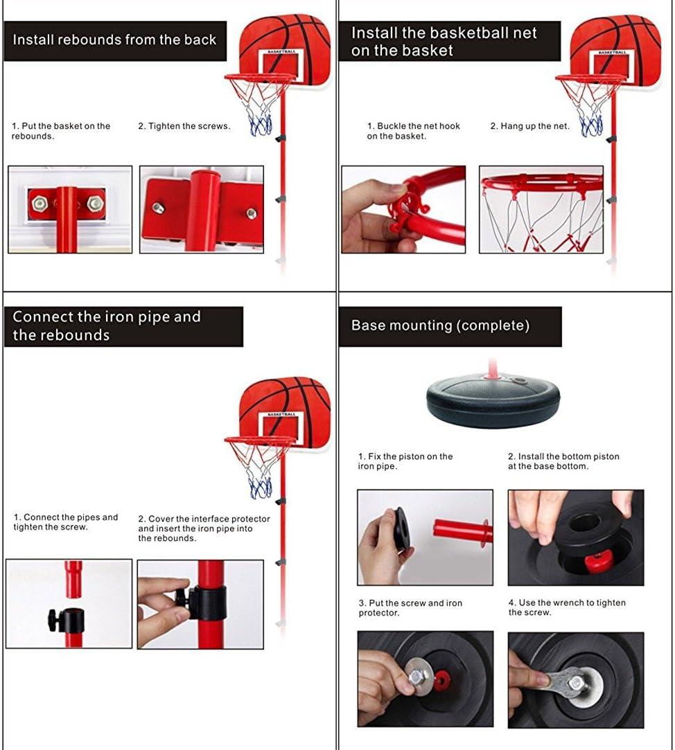 YunNasi Estable y Altura Regulable Canasta de Baloncesto con Pelota y Bomba para ni/ños y j/óvenes 150cm
