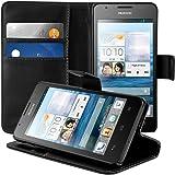 kwmobile Custodia portafoglio per Huawei Ascend G520 / G525 - Cover a libro in simil pelle Flip Case con porta carte funzione appoggio nero