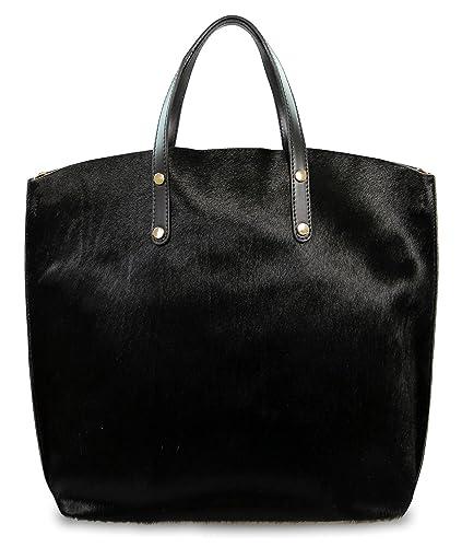 50696e7417596 IO.IO.MIO. Unikat ital echt Ledertasche Damen Handtasche Fell schwarz