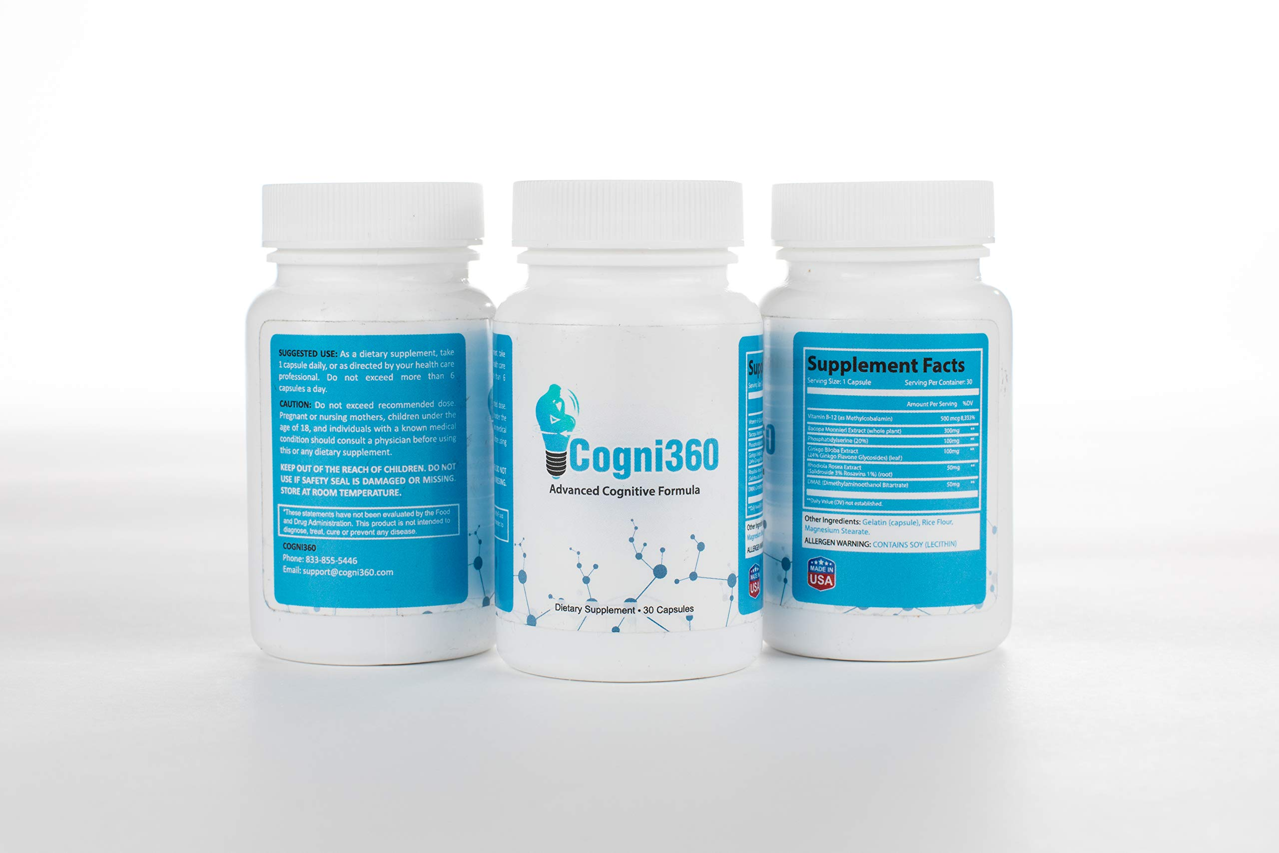 Cogni360 Extra Strength Brain Supplement - 3 Pack - for Focus, Energy, Memory & Clarity - Mental Performance Nootropic with Super Ginkgo Biloba