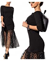 Eloise Isabel Fashion Mulheres mermaid dress moda malha patchwork ver através mulheres dress festa à noite