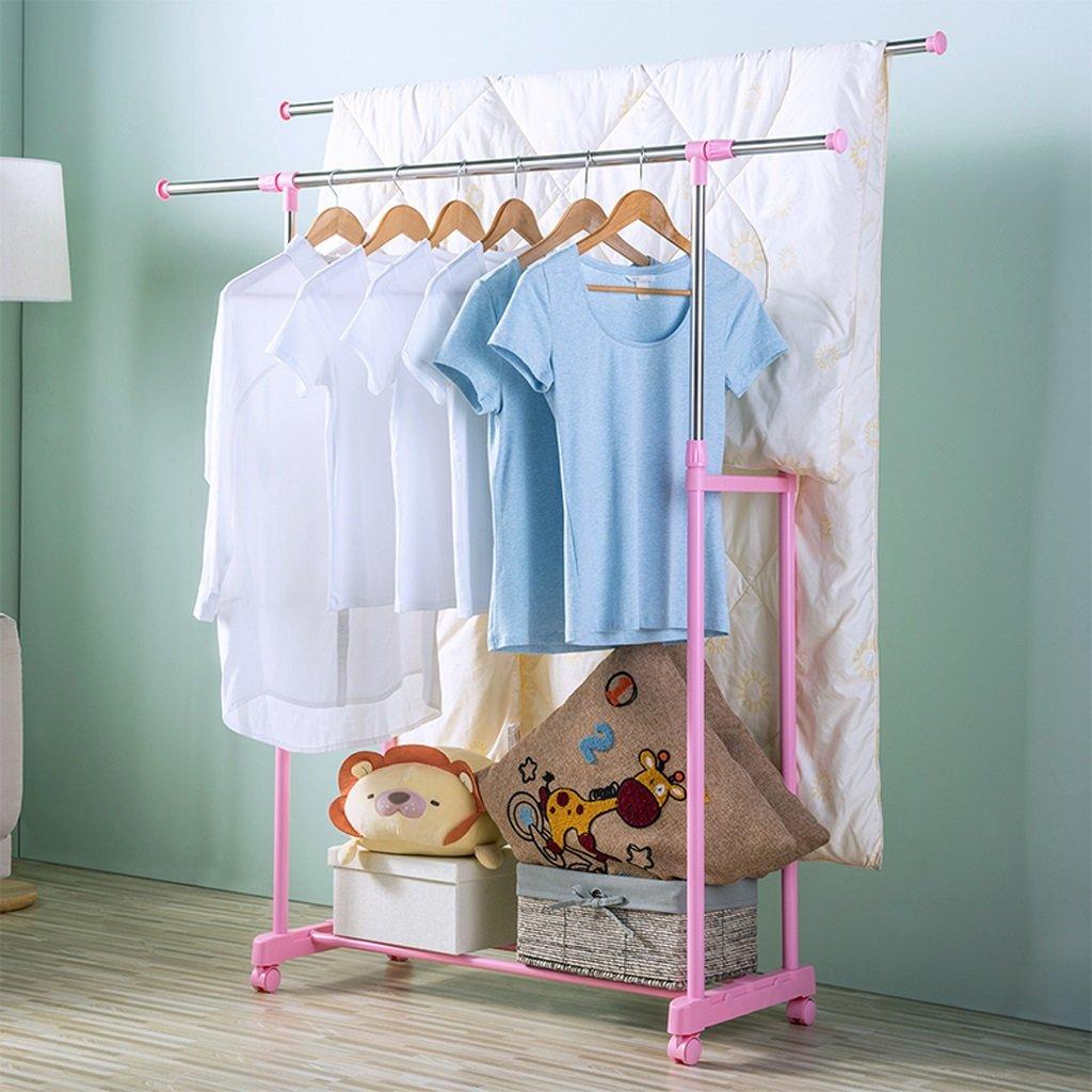 GLJJQMY 調節可能な洋服ハンガー、ローリングフロアの洋服ハンガー、ダブルハンガーレール、収納および靴のスタンド、92-147cm x W43 x H100-172cm、(ステンレス)、黒 乾燥ラック (色 : ピンク) B07S3FPVGM ピンク