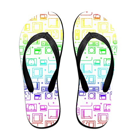 9fdb098608202 Rainbow Gamer Men s and Women s Light Weight Shock Proof Summer Beach  Slippers Flip Flops Sandals S