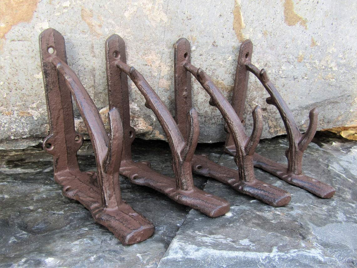 2 X ORNAMENTAL SHELF BRACKET BRACE Vintage Rustic Antique Brown Cast Iron CJ003