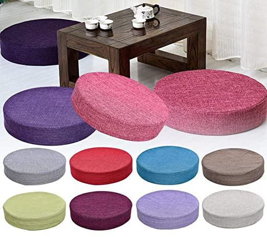 Amazon.com: Cojín redondo de lino para asiento de tatami ...