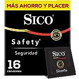 Sico Safety Condones de hule látex natural caja con 16 piezas